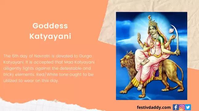 Goddes Katyayani Navratri Sith Day Colors
