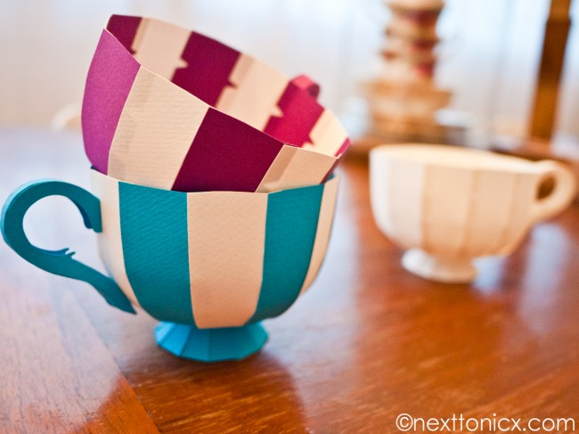 Check Out These Striped Paper Teacups Next To Nicx Has Posted A Free Template And Tutorial For Making Your Own Coming Soon Another Version With Lid