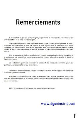 rapport de stage remerciement pdf