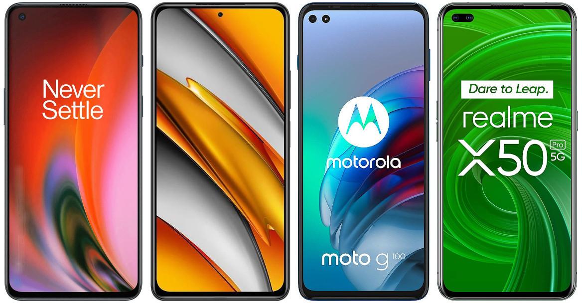 OnePlus Nord 2 vs Xiaomi POCO F3 vs Motorola Moto G100 vs Realme X50 Pro