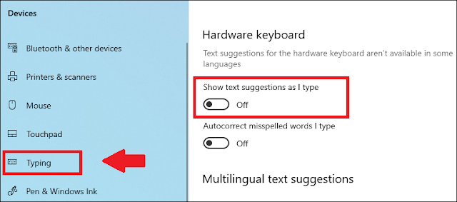 Turn Off text suggestions in Windows