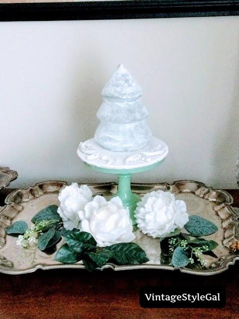 White tree on cake pedestal