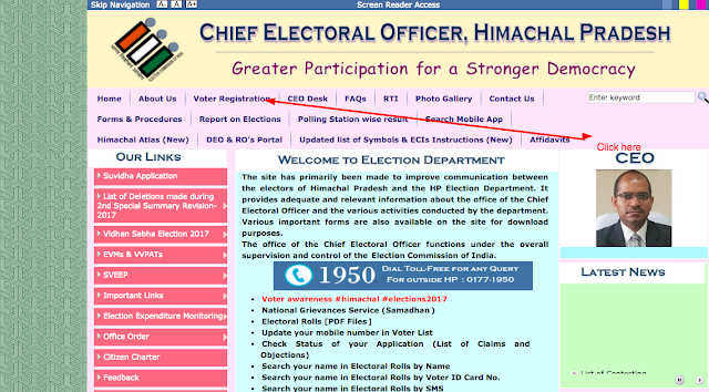 Himachal pradesh Voter card  Official Website