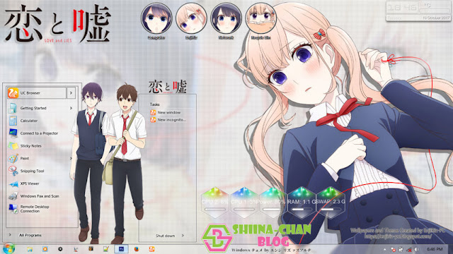Download Tema Windows 7 Koi to Uso by Enji Riz.