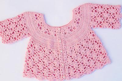 3 - IMAGEN Chaqueta a crochet a juego con vestido rosa para niña muy fácil y rápida Majovel Crochet