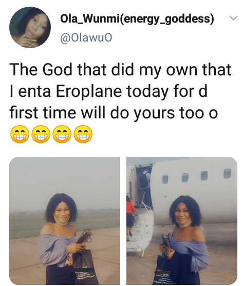 First Time For Everything: Beautiful Nigerian Lady, First Time Flyer Asks God To Extend Her Blessing To Others Who Never Flew On AirPlane