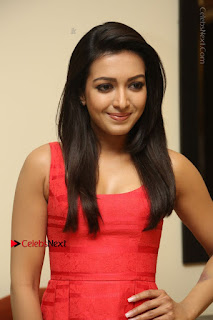 Actress Catherine Tresa Latest Pos in Red Short Dress at Intex Air Conditioners Launch  0007.jpg