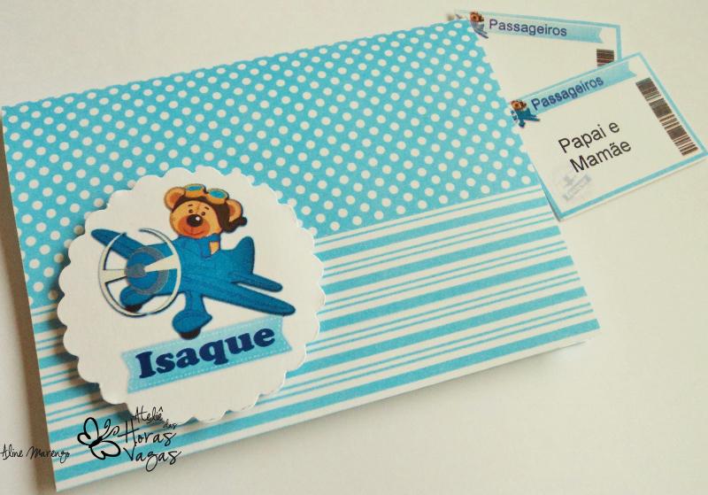 convite artesanal infantil 1 ano aniversário urso ursinho aviador avião cartão de embarque boarding pass passagem