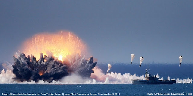 Image Attribute: Display of thermobaric bombing near the Opuk Training Range, Crimean Black Sea Coast by Russian Forces on September 9, 2016 / Source: Sergei Savostyanov / TASS