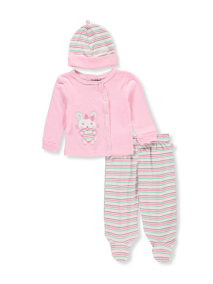 COOKIESKIDS - BABY GIRLS' 3-PIECE LAYETTE SET $4.99