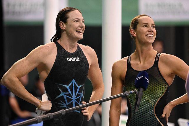 Cate Campbell e Emma McKeon na seletiva olímpica de natação da Austrália
