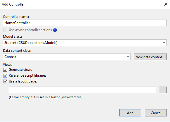 CRUD operations using Entity framework using Scaffolding