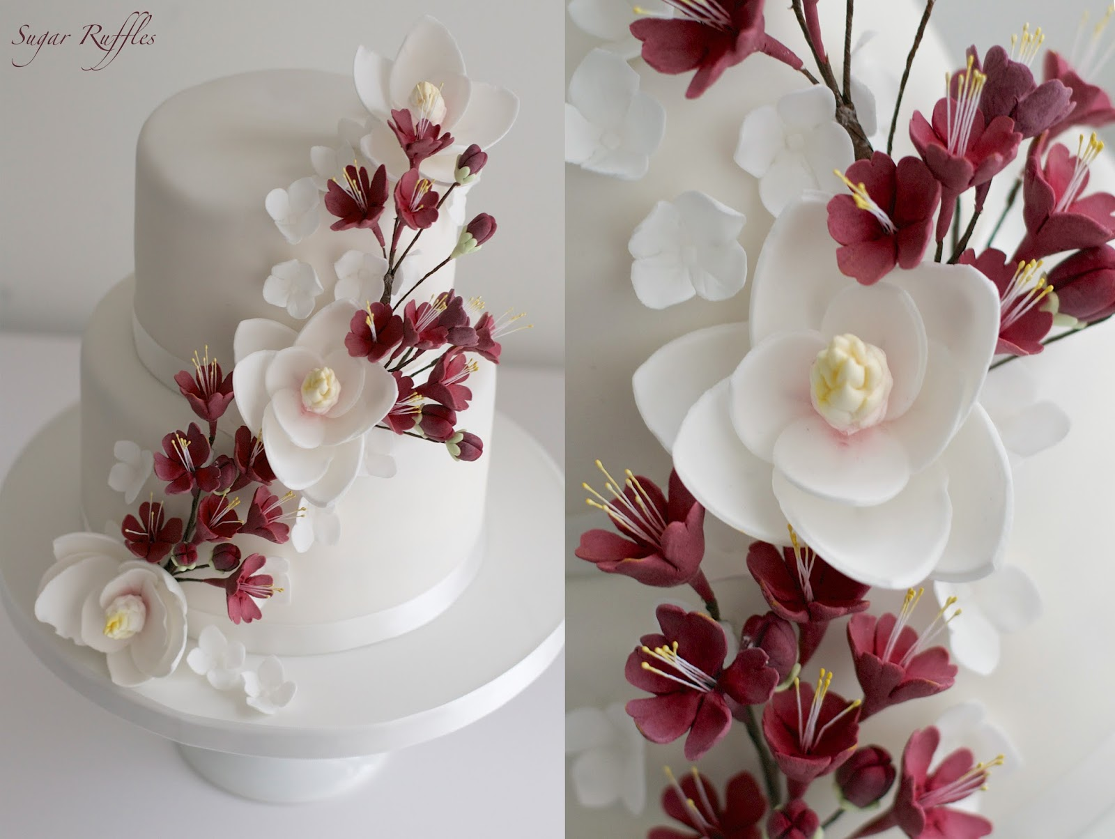 Two tier wedding cakes with orchids flowers