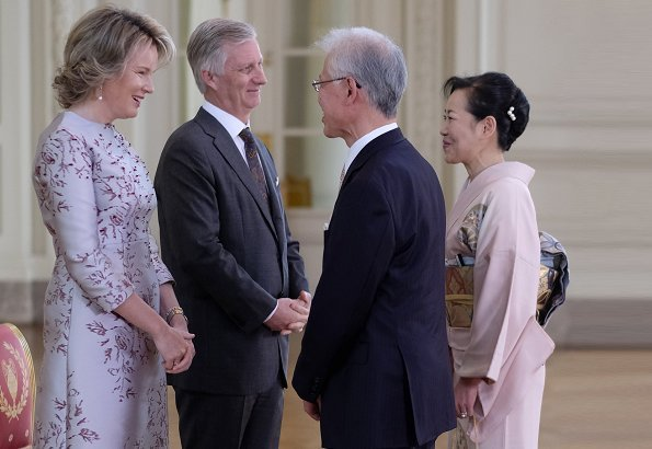 Queen Mathilde in a Natan dress at the New Year's reception for the heads of diplomatic missions accredited to Belgium