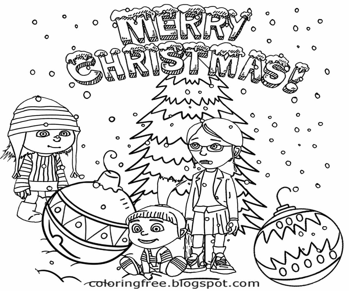 happy childrens orphanage christmas tree best merry xmas minions colouring page for teens to draw on