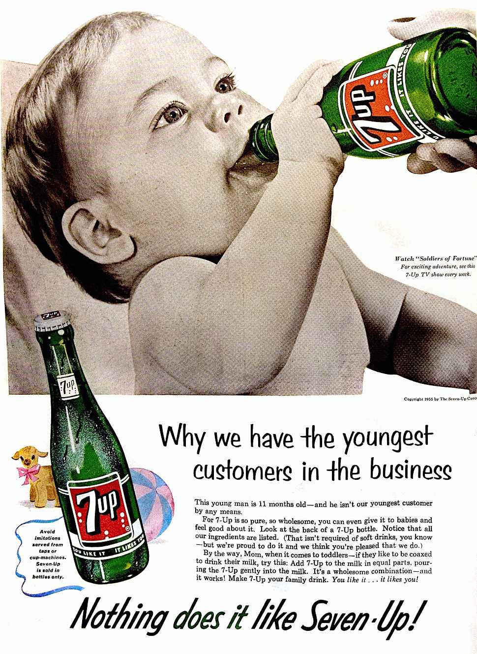 a 1955 magazine advertisement for Seven-up, a baby drinking 7up