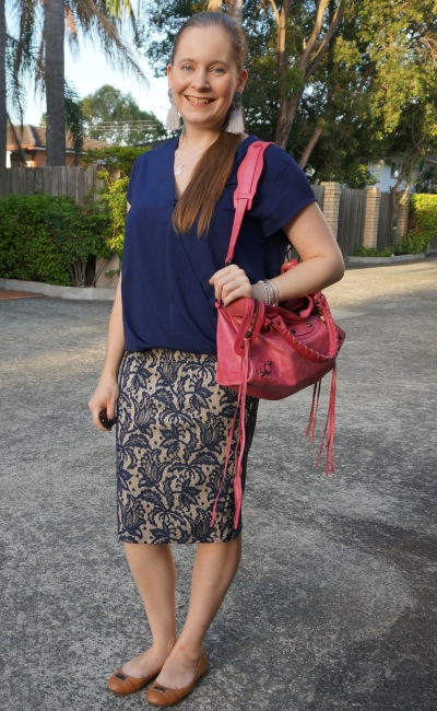 monochrome navy outfit wrap top lace pencil skirt and pink Balenciaga city bag | awayfromblue