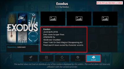 Click to install Exodus Kodi Addon