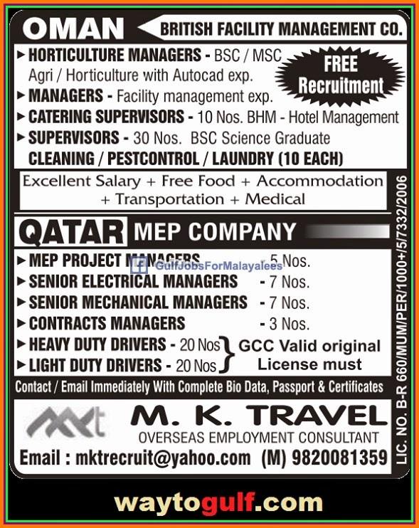 British Company Oman & MEP Company Qatar large job vacancies
