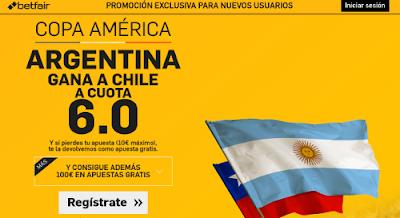 betfair Argentina gana Chile supercuota 6 Copa America 7 junio
