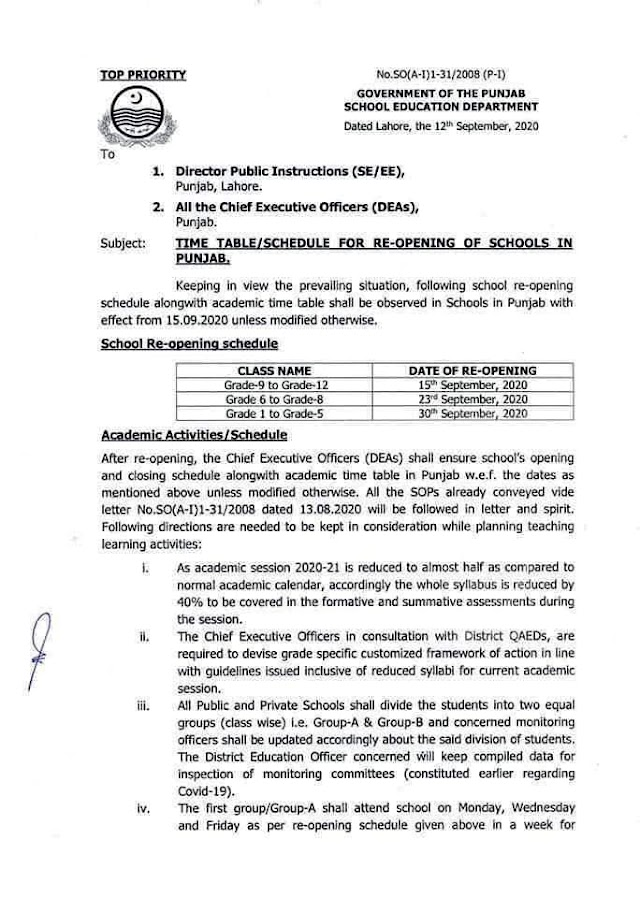 SCHEDULE AND TIME TABLE FOR RE-OPENING OF SCHOOLS IN PUNJAB