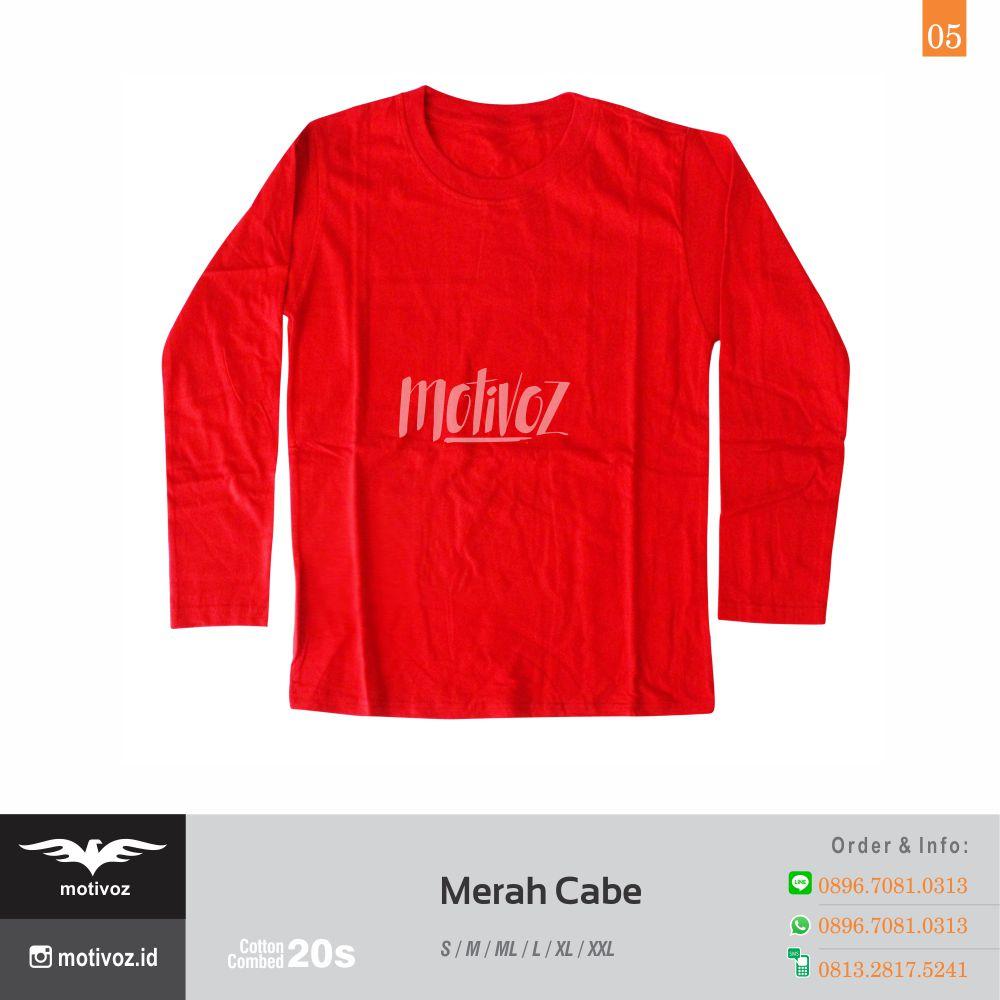 Katalog Kaos Polos O Neck Lengan Panjang Dengan 23 Warna Favorit Size L Cotton Combed 20s 5 Merah Cabe