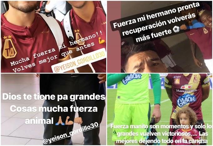Jugadores del DEPORTES TOLIMA expresaron solidaridad con Yeison Gordillo, tras confirmarse dura lesión