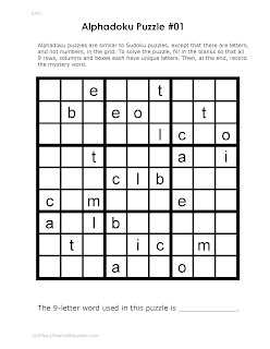 logic reasoning alphadoku puzzle