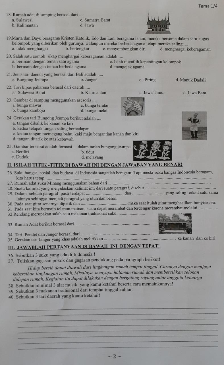 Contoh Soal Tema 1 Kelas 4 Semester Ganjil, Indahnya Kebersamaan