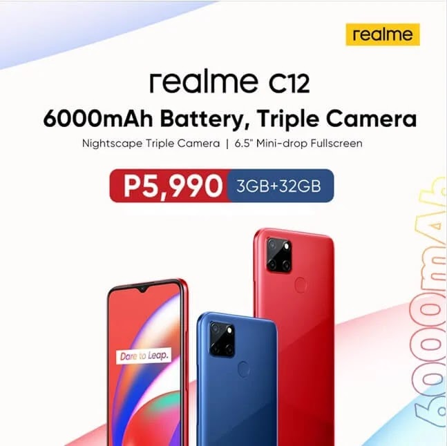 Realme C12 with 6,000mAh Battery and Triple Camera Launches in PH for Only Php5,990