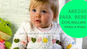 Campera de corazones tejida en dos agujas para bebés de 8 a 12 meses