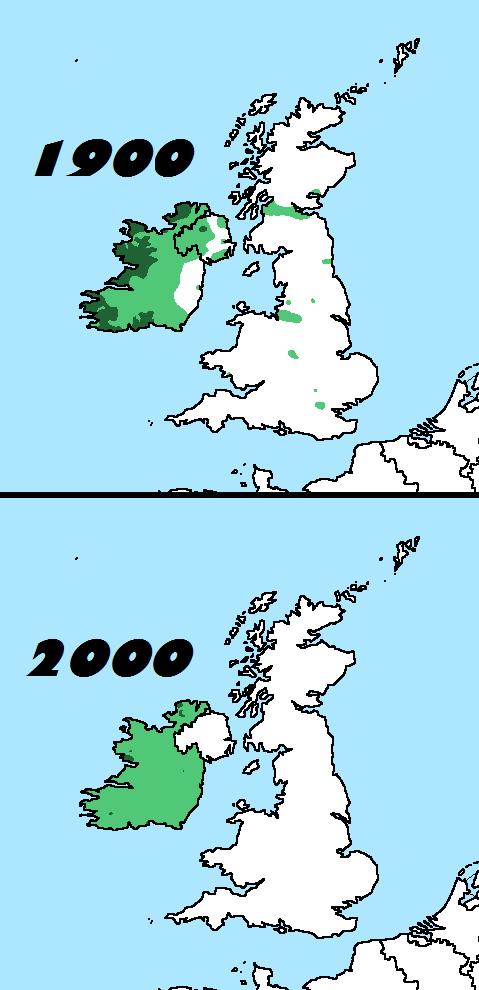 Distribution of Irish speakers in 1900 & 2000