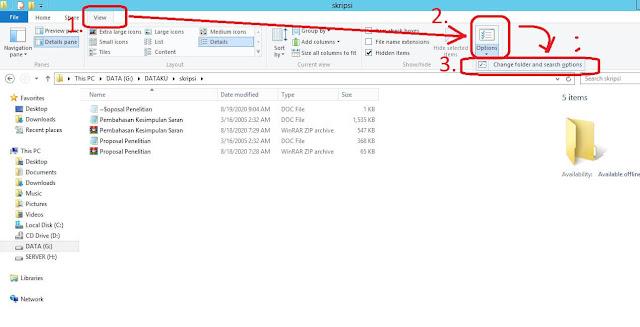 change view file folder option windows server