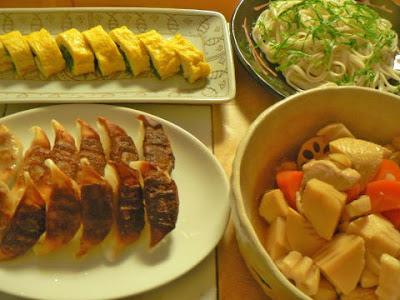 鶏胸と根菜の甘酢煮 令うどん 餃子 ニラ玉