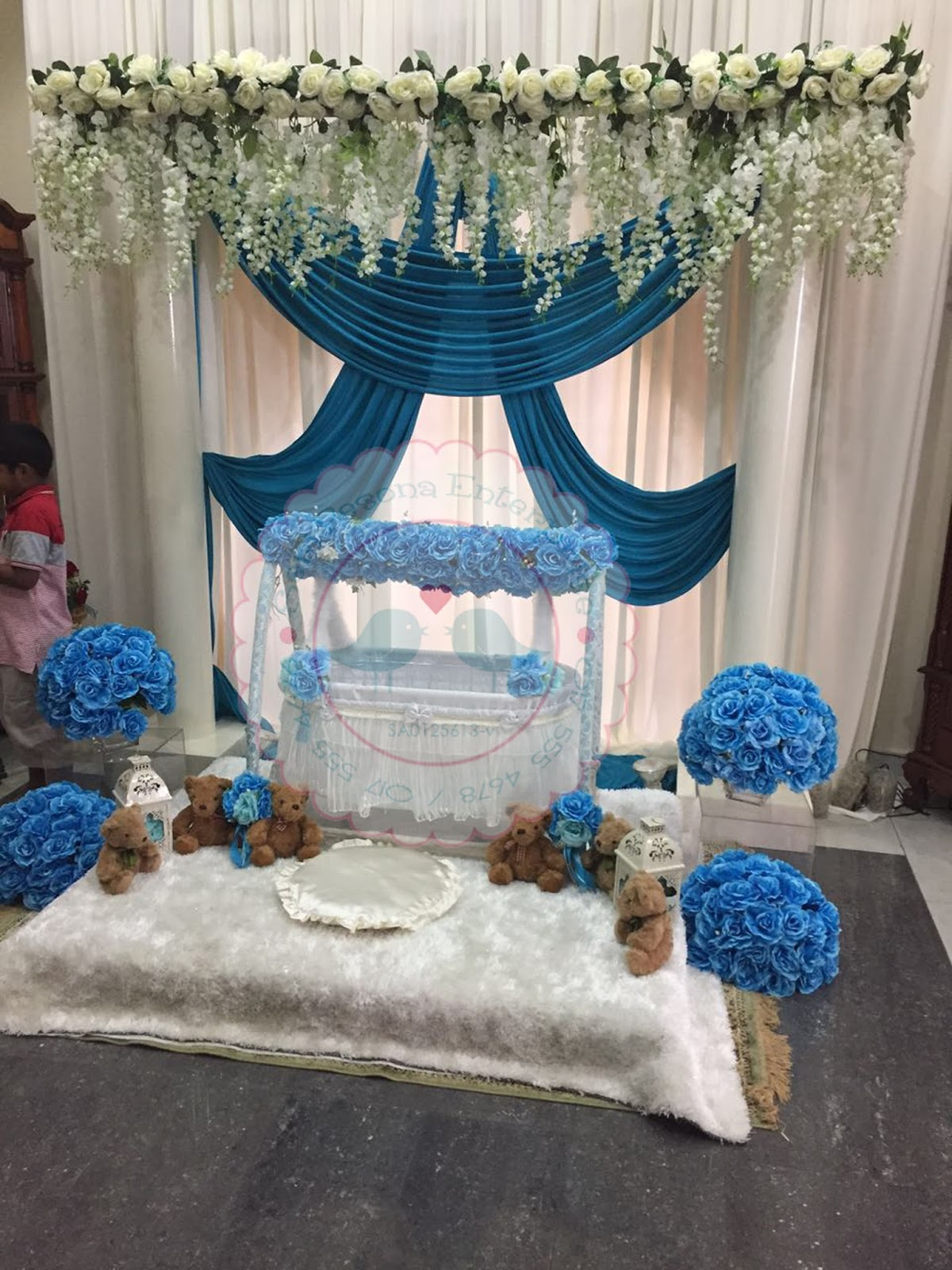 Buaian berendoi tema biru 10 april 2016 buaian for Baby name ceremony decoration
