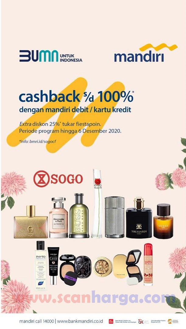 SOGO Promo CASHBACK 100% dengan Debit & Kartu Kredit Mandiri