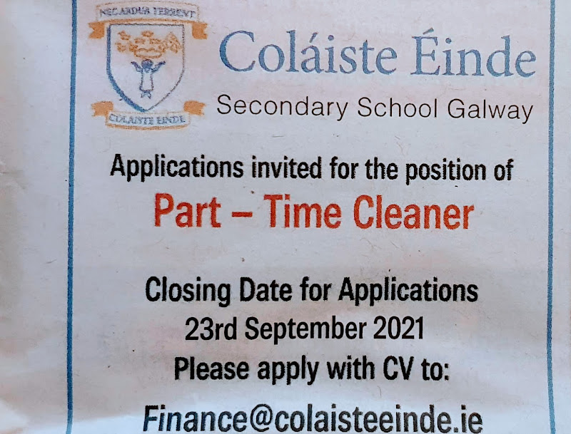 Job advertisement - full time cleaner - endas secondary school