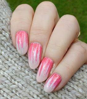 Coral and White Waterfall nails