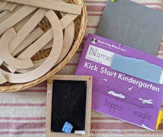 Handwriting Without Tears Transitional K Book, Wooden Uppercase Manipulatives, and Wet Dry Try Board