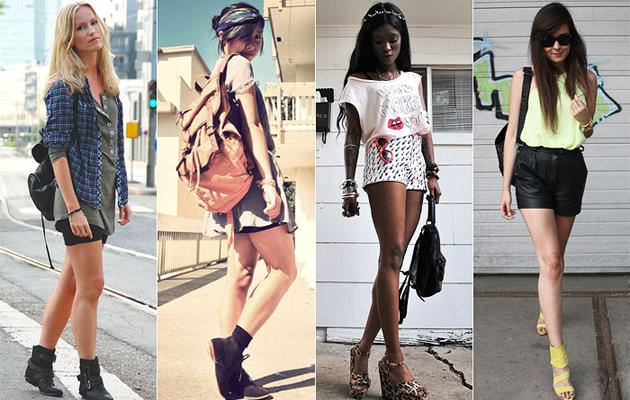 Modelos usando looks com modelos diferentes de mochilas femininas
