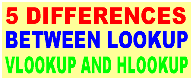 Differences between Lookup, Vlookup and Hlookup in Hindi
