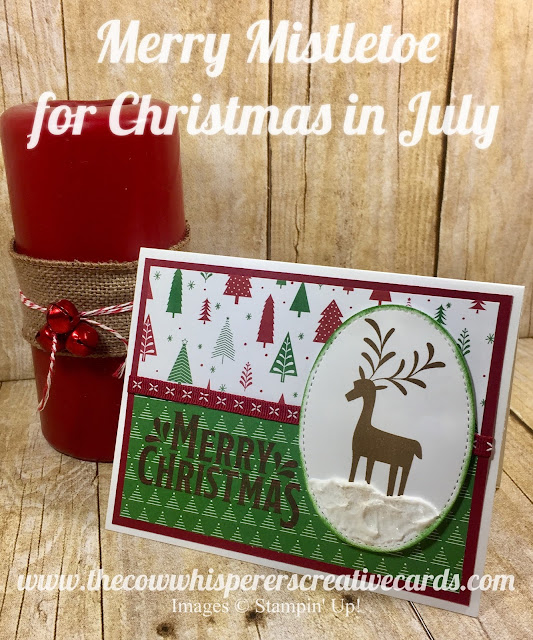 Merry Mistletoe, Embossing Paste. Be Merry DSP, Double Stitched Ribbon, Card, Stampin Up, Christmas in July