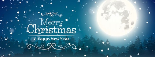 full moon Christmas & Happy New Year Cover picture for facebook timeline and twitter images