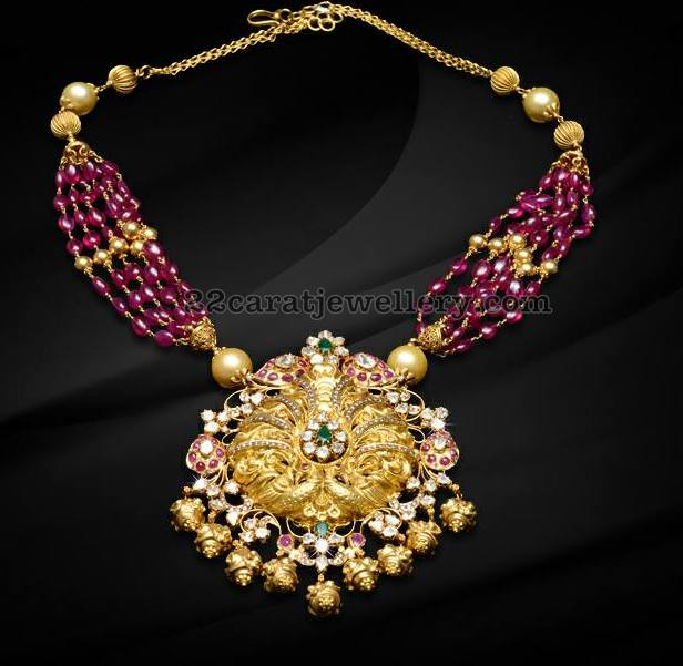 Ruby Drops Necklace by Krishna Jewellers