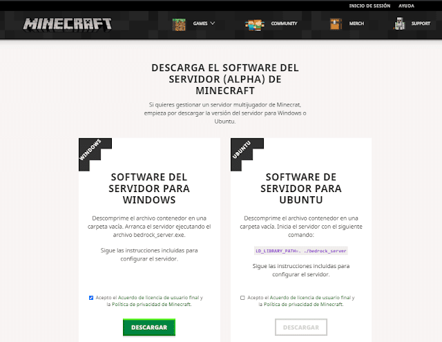 Página de descarga Software Minecraft Server