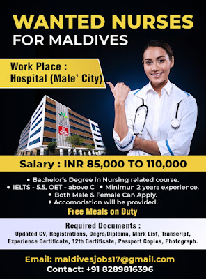 Urgently Required Male and Female Nurses to Maldives