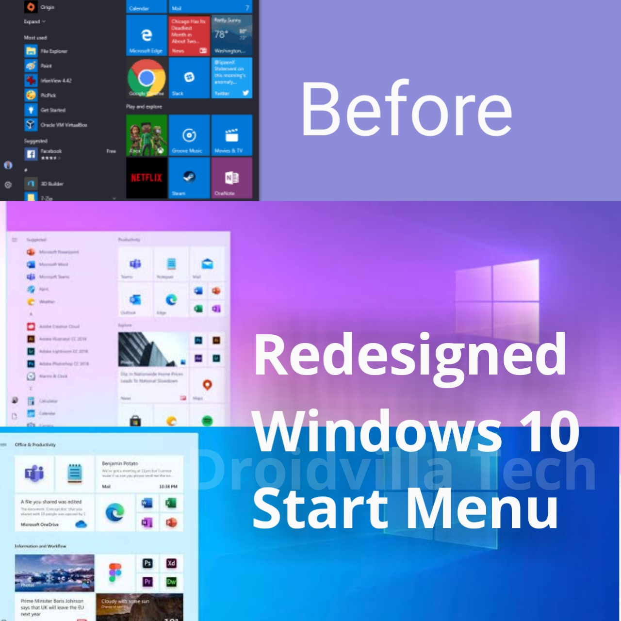 Redesigned Windows 10 Start Menu