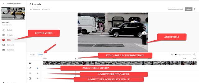 editor integrato in youtube