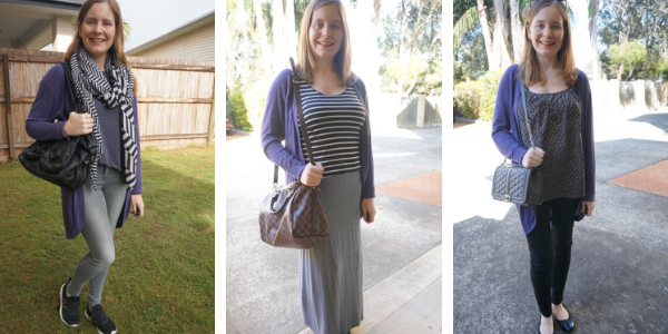 3 outfit ideas adding colour to neutral outfits with purple cardigan awayfromtheblue