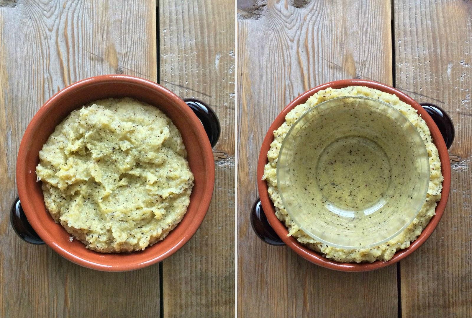 cocotte di polenta taragna ripiene di gorgonzolapere e noci
